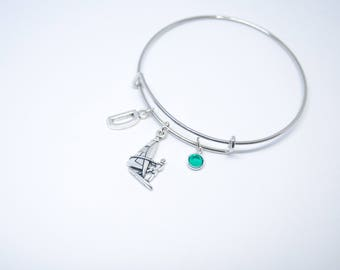 Windsurfing bracelet, windsurfing gift, surfboard charm, surfing charm, windsurfer gift, windsurfing bangle charm, surf board jewelry