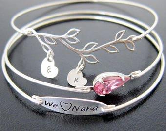 Nana Mothers Day Gift from Kids, from Grandkids, from Granddaughter, from Grandson, from Grandchildren Family Tree Jewelry Bracelet for Nana