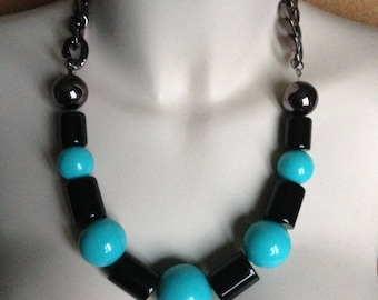 Necklace - black and blue plastic necklace Large beads high quality item