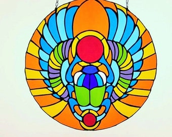 Stained glass egyptian scarab| beetle |