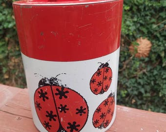 Darling chippy paint lady bug tin Canister, Vintage Collectible, canister Tin, vintage Canister,Bright Red ladybug Themed Tin Canister