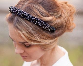 Beaded headband Black beaded headband Crystal beaded headband Black hair accessory Bridesmaid hair accessory Classic black headband