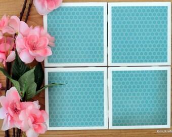 Ceramic Tile Coasters - Coaster Set - Table Coasters - Teal Coasters - Coaster - Tile Coaster - Coasters for Drinks - Coasters Tile