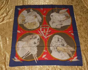Genuine vintage Hermès scarf - Chiens au rapport - 1987 - all silk