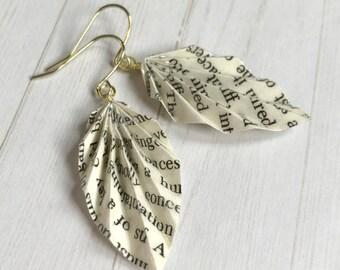 Origami Leaf Earrings // Literary