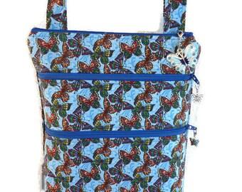 3 Zipper Butterfly Cross Body Purse, Spring/Summer Purse, Medium Cross Body Bag, 3 Zipper Purse, Adjustable Strap