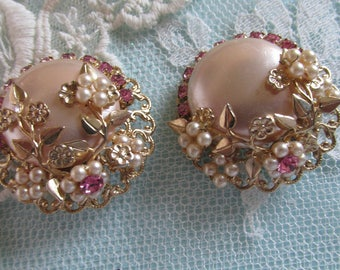 Vintage Cluster Earrings, Pink Rhinestone Earrings, Rhinestone Jewelry Lot, Filigree Pearl Clusters