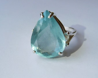 Large Natural Seafoam Blue Pear Aquamarine In Sterling Silver Cocktail Ring, 8.66ct. Size 7.5