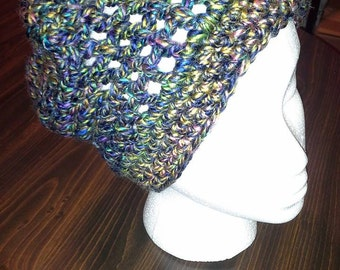 """Crocheted """"Stained Glass"""" Slouch Hat"""