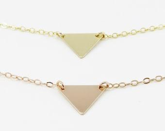 Tiny Triangle Necklace, Geometric Triangle Necklace, Gold Triangle Necklace, Gold, Rose Gold or Sterling Silver, Geometric Jewelry