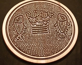 Original Carved Wooden Plate of Ancient Loaves and Fishes