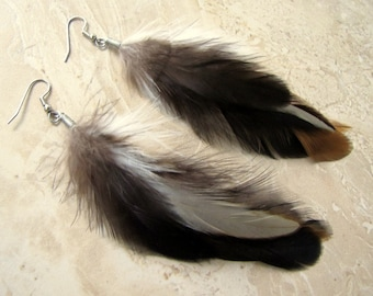 Feather Earrings - Natural Feather Earrings, Brown and Beige Feathers - Metamorphosis