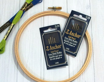 Anchor Cross Stitch Needles, Gold Plated Sewing Needles, Size 24 - Size 26