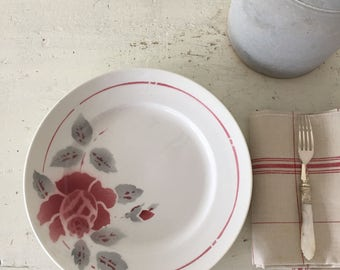Beautiful vintage French ironstone  set of 4 dinner plates