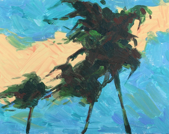 Windy Day Beach Decor Original Painting by I. Demydova SEASTYLE