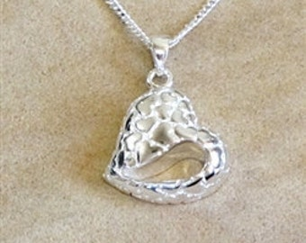 Cremation Ash Jewelry sterling silver teardrop heart pendant Pet Memorial YOU FILL