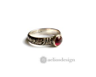 Sterling Silver Birthstone Ring | Promise Ring | Engagement Ring | Patterned Vine Design Antiqued Band