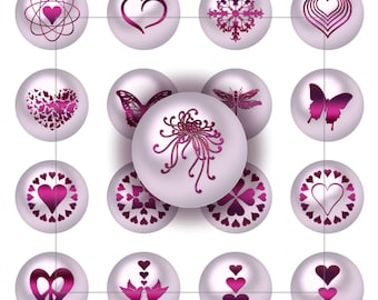 CHERISH- 25mm Circles - Pink Pearl Symbols of Romance - Instant Digital Download -Collage Sheets-Stickers Jewelry Scrapbooking Arts & Crafts