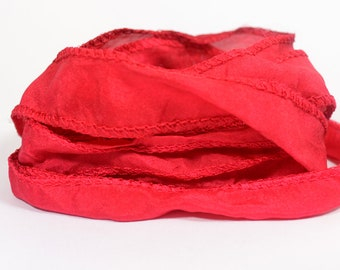 Christmas Red Hand Dyed Silk Ribbons - Flat Ribbon Style - S8