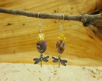 Sale~ Fairy Realm dragonfly Chevron Amethyst, Ametrine, Citrine dangle earrings
