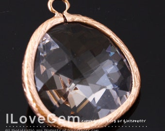 50% OFF Clearance// NP-1523 Rose Gold Plated, Clear, Glass, Big Pendant, 1pc / Framed glass, Glass pendant