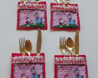 Holiday Utensil Holder, Christmas flatware holder, Utensil and Napkin Holder, Cartoon Print Table decoration, Holiday Flatware Holder, Floyd