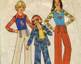 Girls Collared Shirt, Vest Top, and Wide Flared Pants With Front Zippers Sewing Pattern, Simplicity 7201, Size 7, Vintage 1975, Cut