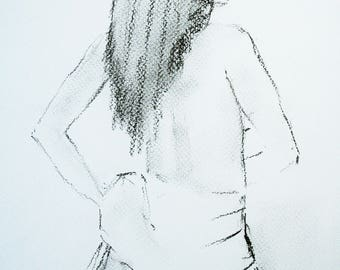 Standing Nude (an original charcoal drawing)