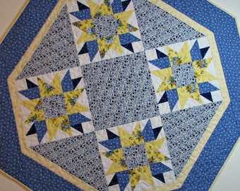 Shabby Cottage Chic Quilted Table Topper, Octagon Spring Table Mat, Blue and Yellow Floral Table Topper, Quiltsy Handmade