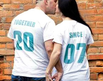Newlywed Couples T-Shirts, Anniversary Wedding Gift Idea, 'TOGETHER SINCE' set of 2 Matching Tees for Lovebirds Jersey Number Couples Shirts