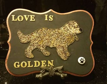 Beaded Golden retriever silhouette on a wood plaque