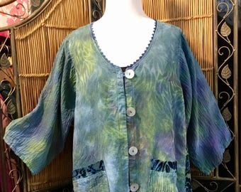 Multicolored Raw Silk Jacket