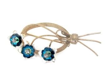 Vintage Blue Flower Brooch, 1960's Enamel Flower Brooch, Rivoli Flower Brooch, Pin, Vintage Brooch, 1960s Brooch, Jewelry