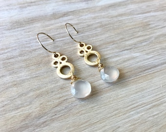 White Chalcedony Gold Wire Wrapped Handmade Earrings