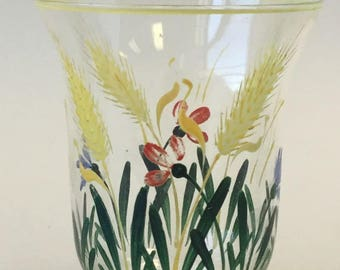 Vintage glasses-hand painted beverage glasses- floral design-1930's glassware- juice glasses-