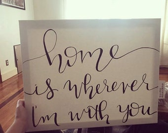 Hand Lettered Canvas - Home