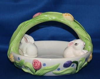 Vintage Easter Bunny Basket Flower Garden Candy Dish Whimsical Spring Garden by Aspen Productions Hand Painted Ceramic Trinket Dish Plate