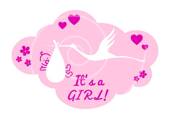 Baby Shower Stork Clipart ~ New baby digital clip art its a girl its a boy