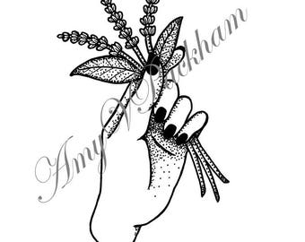 Hand With Lavender Tattoo Design