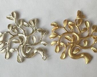 6 pcs of solid brass branch tree charm pendant-35x38mm-1063-raw brass/matte gold/matte silver