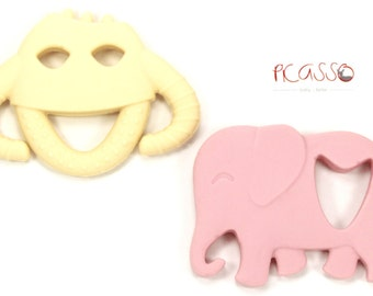 Teether beige MONSTER food silicone, baby toys, chew toy, shower gift, Christmas gift, breastfeeding, Chewing pendants, Bath toy