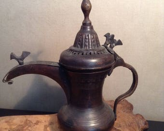 Vintage bronze middle eastern Dallah coffee pot with birds