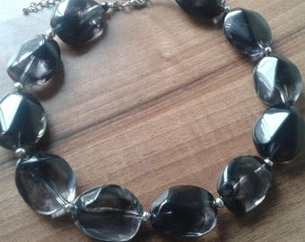 Chunky lucite smoky quartz style necklace