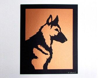 German Shepherd Art Dog Gift Cut Paper Silhouette