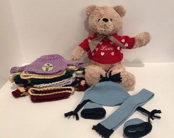 "Teddy Bear Plush with handmade clothes seasons sweaters 16"" Tall"
