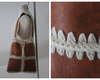 1970s Faux Leather and Crocheted Bag