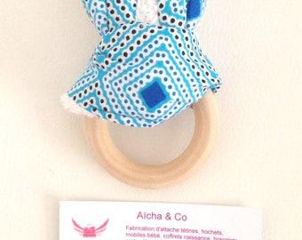 Rattle Teether Bunny montessori wax blue wood natural