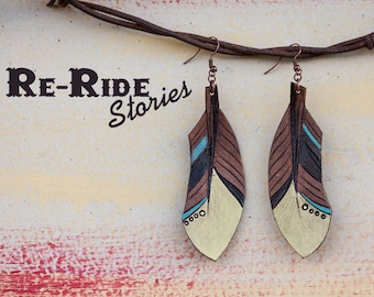 Tooled Leather Feather Earrings