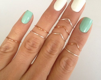 8 Midi Rings in Silver and Copper, 4 Chevron and 4 Simple Band Midi Rings. Mid knuckle stacking rings to wear in many combinations!