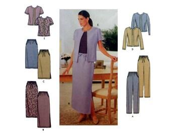 Women's Elastic Waist Pants, Skirt and Jacket Sewing Pattern Misses Size 10-12-14-16 Uncut Simplicity 9159